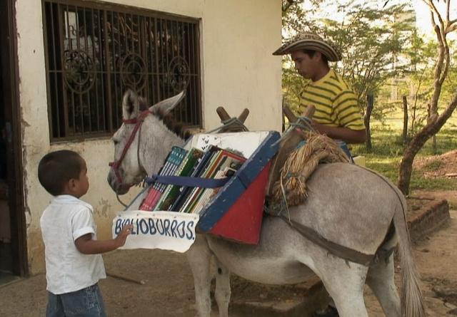 Donkey bookmobile
