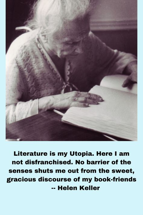 Helen Keller reading braillle