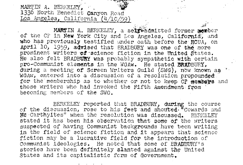 Bradbury and the FBI