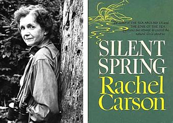Photo of Rachel Carson and her famous book